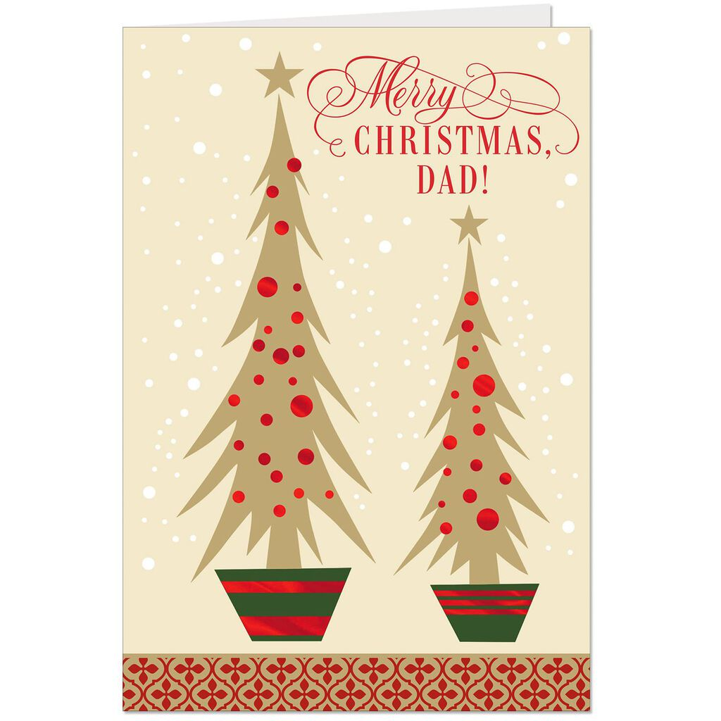 Big Tree and Little Tree Christmas Card for Dad - Greeting Cards ...