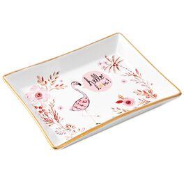 Haute Girls™ Flamingo Paradise Ceramic Trinket Tray, , large
