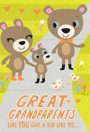 Bear Family Grandparents Day Card for Great-Grandparents