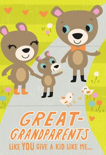 Bear Family Grandparents Day Card for Great-Grandparents,