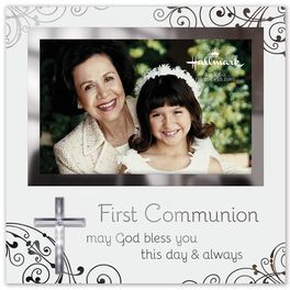 First Communion Glass Picture Frame With Cross, 4x6, , large
