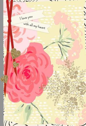 Pink Roses and Glitter Valentine's Day Card