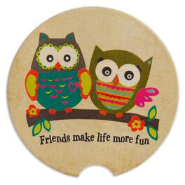 Natural Life Car Coaster Owl Friends, , large