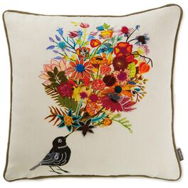Bird With Bouquet Embroidered Throw Pillow, , large