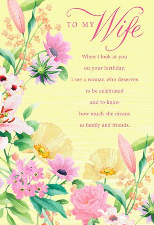 Floral Border on Yellow Birthday Card for Wife