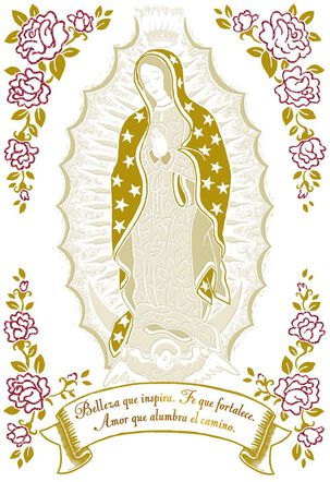 Lady of Guadalupe With Flowers Spanish-Language Mother's Day Card