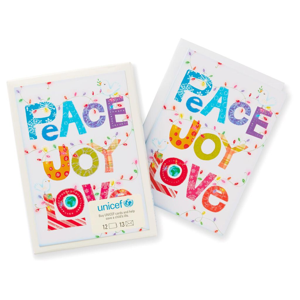Unicef Peace Joy Love Christmas Cards Box Of 12 Boxed Cards