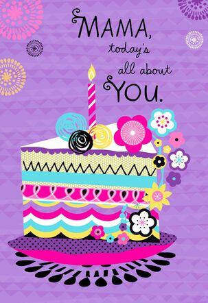 Colorful Cake Mama Happy Birthday Card