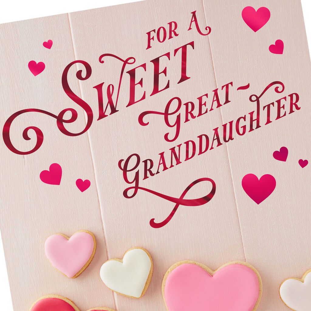Heart Cookies Valentines Day Card For Great Granddaughter