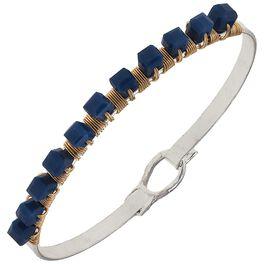 Navy Beaded Bangle Bracelet, , large