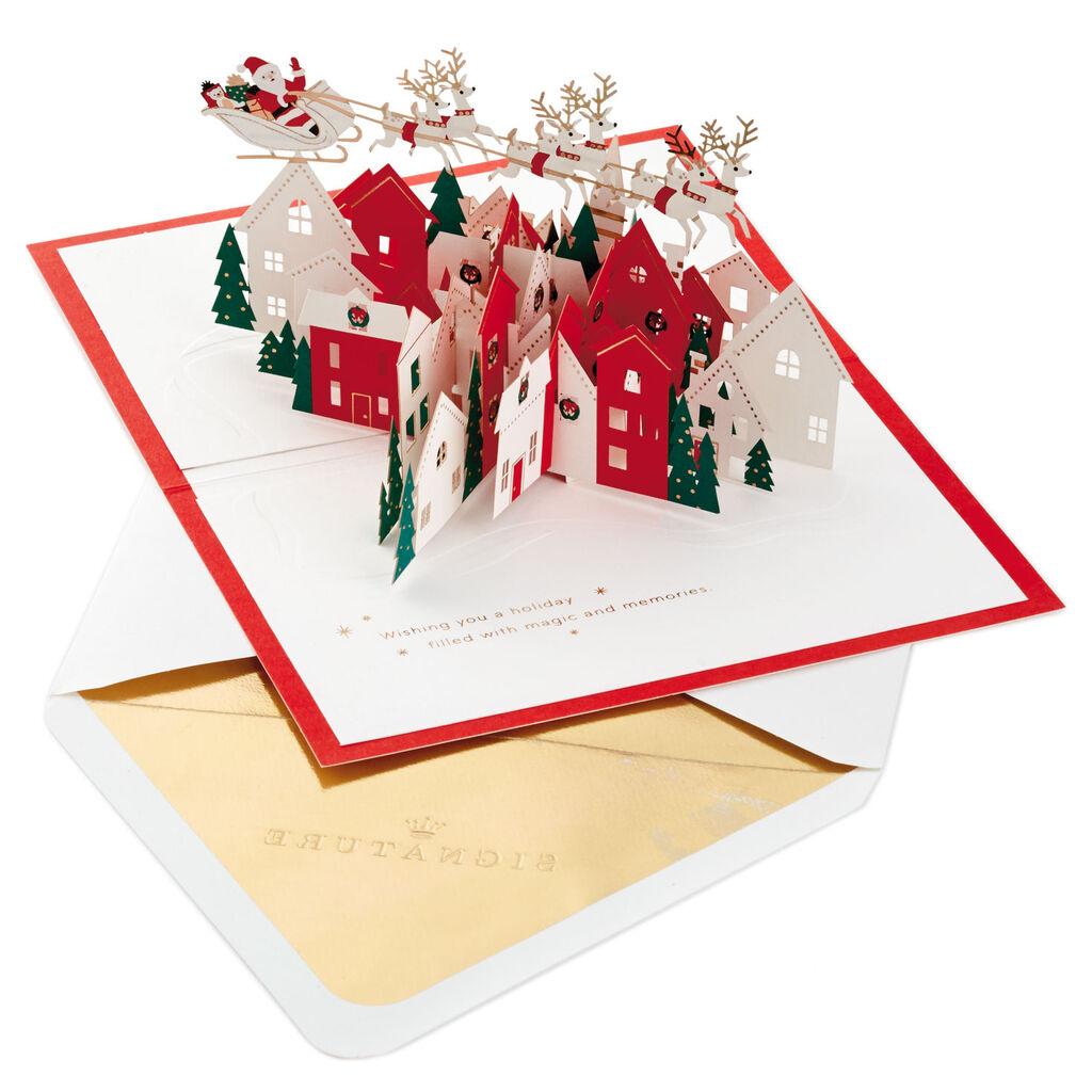 Pop Up Christmas Cards.Santa S Sleigh Village 3d Pop Up Christmas Card