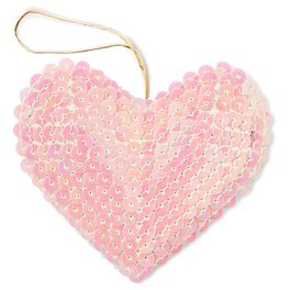 Iridescent Sequined Heart Gift Trim, , large
