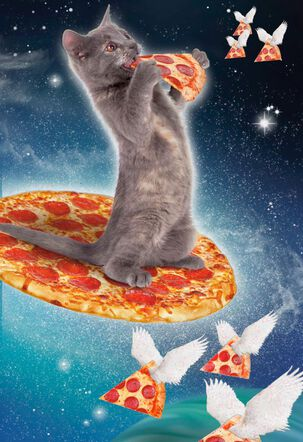 Awesome Cosmic Pizza-Eating Cat Funny Birthday Card