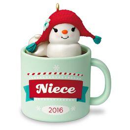 Niece Hot Cocoa Mug and Marshmallow Snowman Ornament, , large