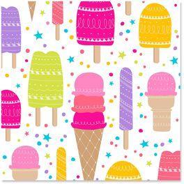 Ice Cream Cones and Popsicles Wrapping Paper Roll, 27 sq. ft., , large