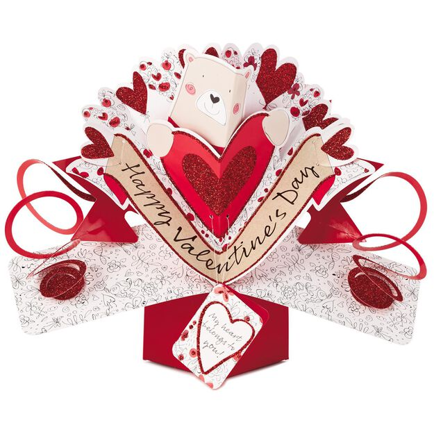 Bear With Heart PopUp Valentines Day Card Greeting Cards – Bear Valentines Card