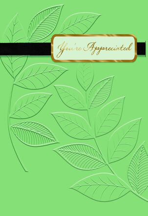 Embossed Leaves Blank Thank You Card
