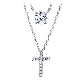Cross Necklace Set in Sterling Silver, Set of 2, , large
