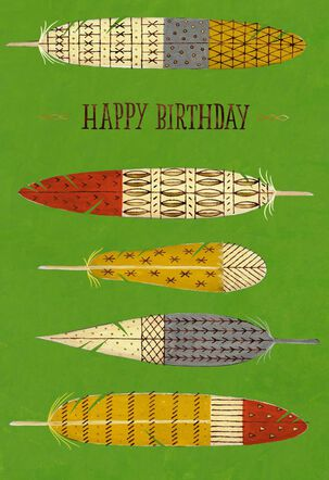 Colorful Feathers Birthday Card for Godfather