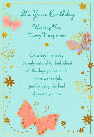 Every Happiness Butterflies Birthday Card