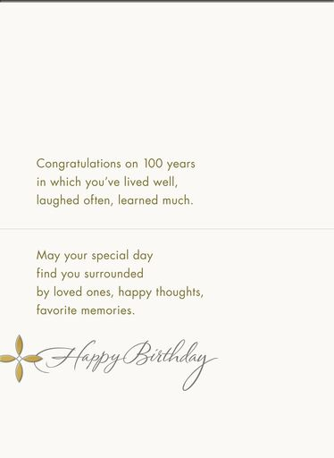 Live Well 100th Birthday Card