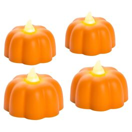 Flameless Pumpkin Candles, Set of 4, , large