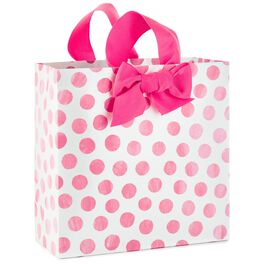"Pink Dots Large Square Gift Bag, 10.25"", , large"
