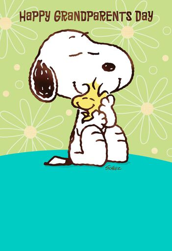 peanuts snoopy and woodstock hugs grandparents day card