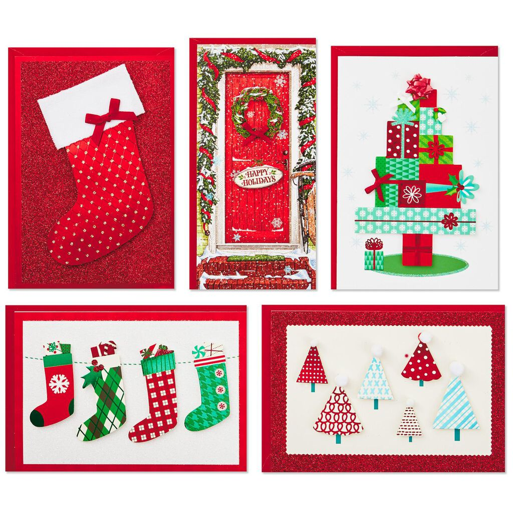 Assorted Handmade Christmas Cards in Lidded Storage Box, Box of 24 ...