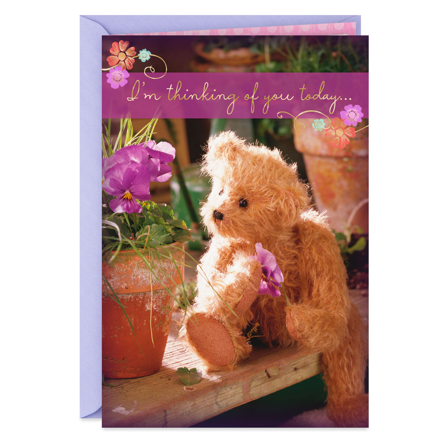 glitter teddy bear with flowers It/'s your Birthday brand new card female