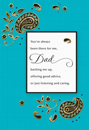Gold and Blue Paisley Father's Day Card