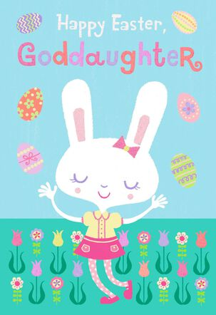 Goddaughter Flowers and Eggs Easter Card