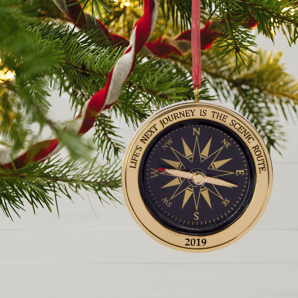 Hallmark Christmas Ornaments 2019.Life S Next Journey Compass 2019 Metal Ornament