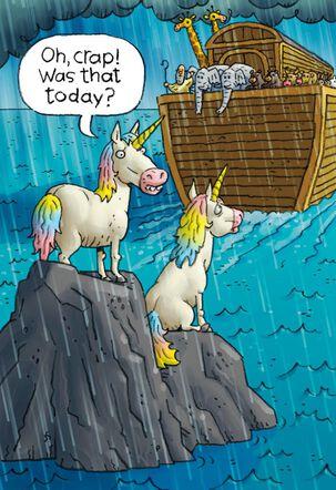 Noah's Ark's Missing Unicorns Funny Birthday Card