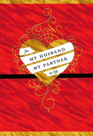 Husband Gold Swirl Heart Valentine's Day Card