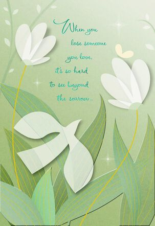 White Doves and Flowers Sympathy Card