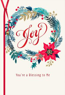 Joy Wreath Christmas Card,