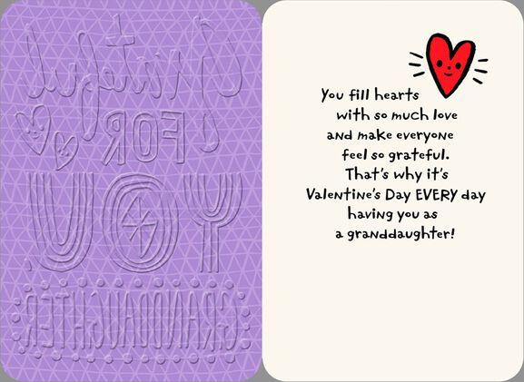 Grateful for You Granddaughter Valentines Day Card Greeting – Granddaughter Valentine Card