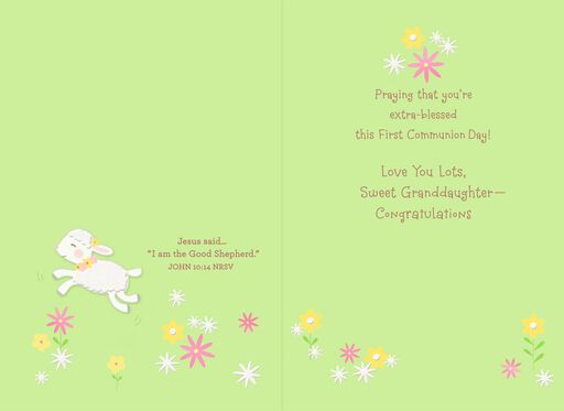 Little Lamb First Holy Communion Card for Granddaughter,