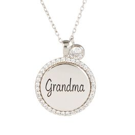 "Engraved ""Grandma"" Necklace in Sterling Silver, , large"