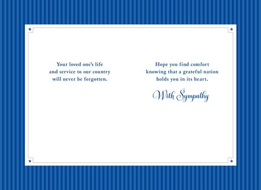 American Flag Military Personnel Sympathy Card,