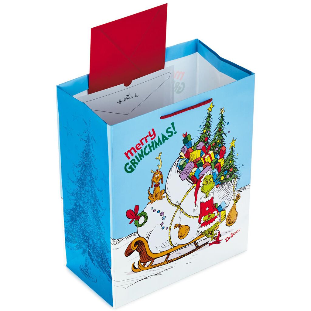 Dr. Seuss™ Grinch With Sled Large Christmas Gift Bag, 13\