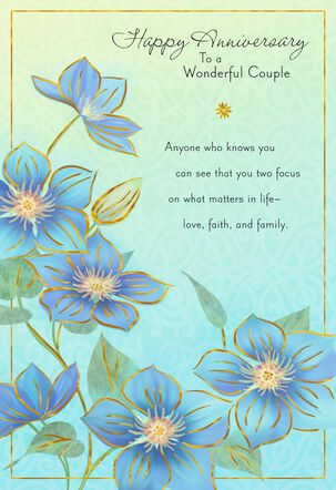 Blue Flowers Blessings Anniversary Card for Couple