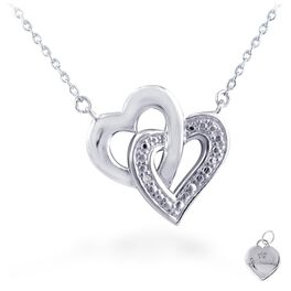 Diamond Accent Stacked Double Heart Necklace in Sterling Silver, , large