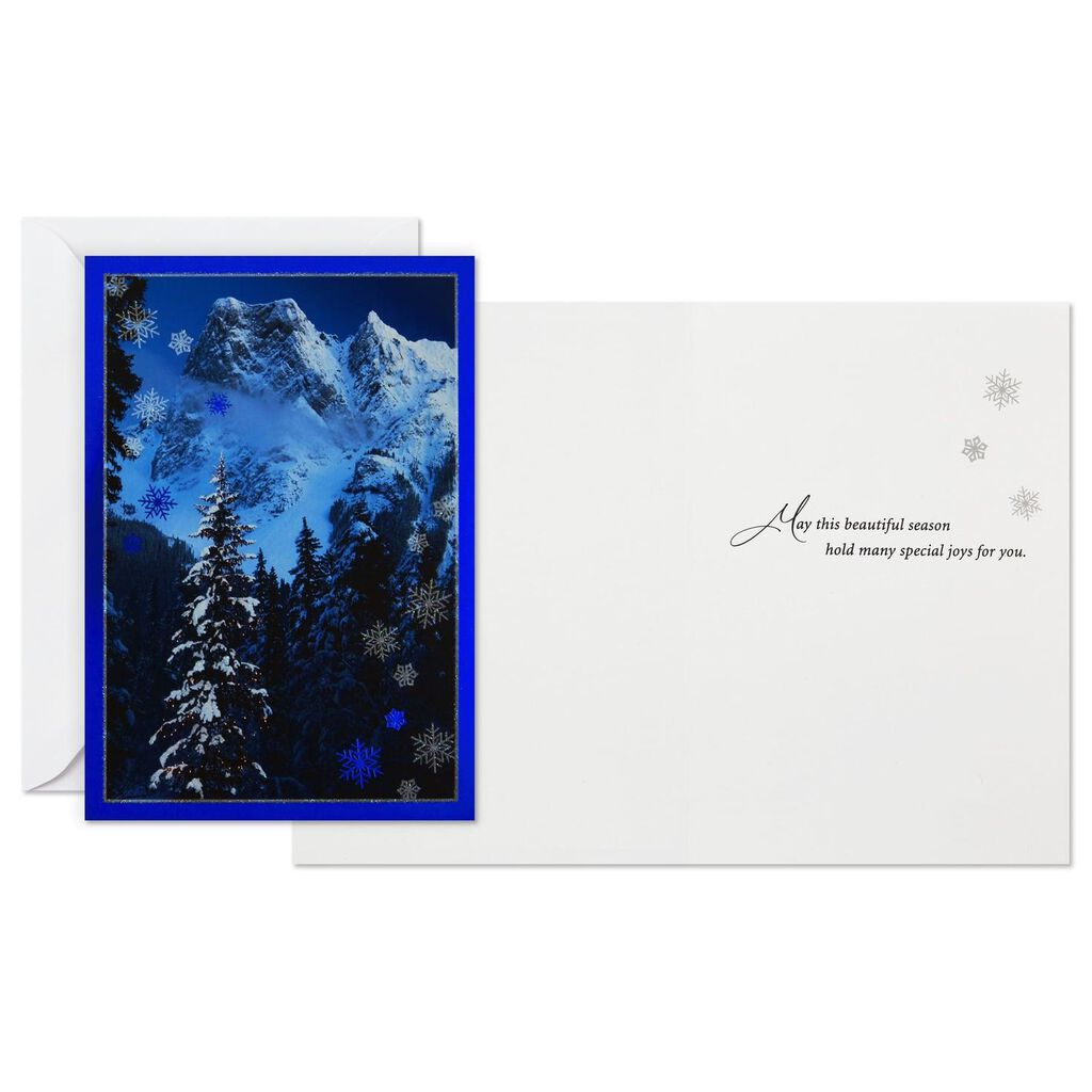 Mountain Christmas Cards.Snowy Mountain Christmas Cards Box Of 16
