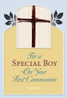 Boy First Communion Cross and Leaves,