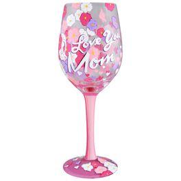 Lolita® I Love You Mom Handpainted Wine Glass, 15 oz., , large