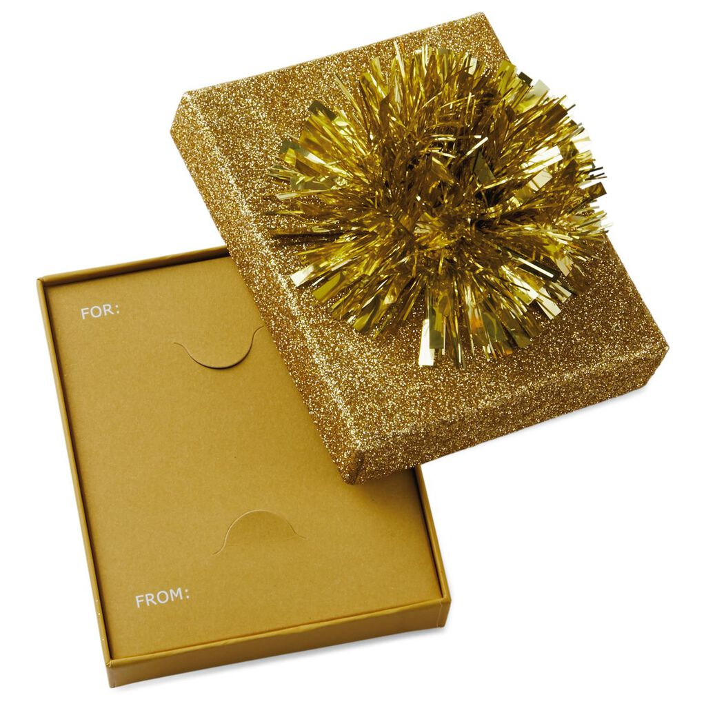Gold Gift Card Holder Box With Glitter Bow 4 5 Gift Card Holders
