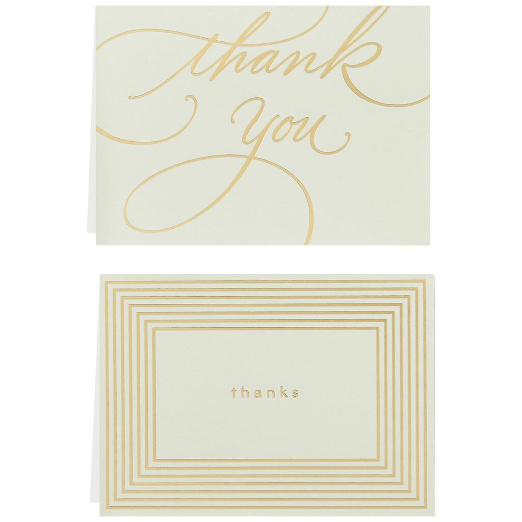 gold borders thank you notes box of 40 note cards hallmark