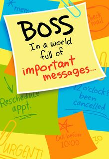 Important Memo Boss's Day Card,